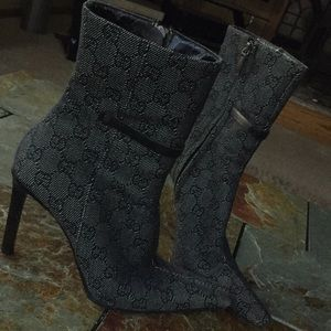 Authentic Gucci Grayscale Canvas Heeled Booties-8